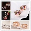 5 Colors Zircon Hoop Earring Charming Flower Design Ear Accessory Cubic Zircon Gold Silver Plated Crystal Wedding Earrings