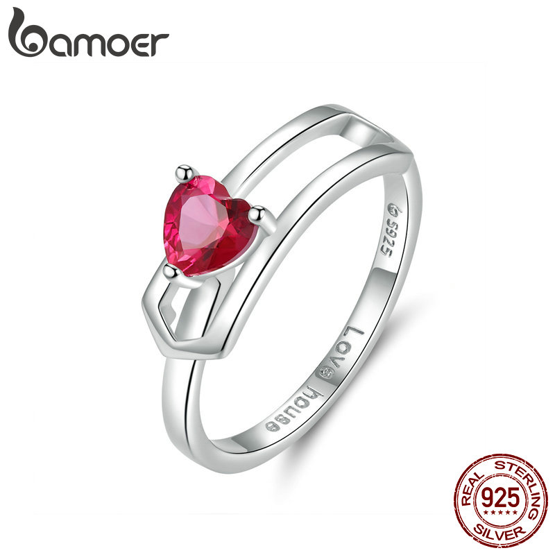 Bamoer Love House Finger Ring For Women Wedding Sterling Silver 925 Red Cubic Zirconia Heart Adjustable Rings Free Size BSR042