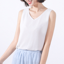 Women Summer Chiffon Tops White Sleeveless Blouses V-Neck Chiffon shirt Casual Woman Blouse femme Office Wear Tops TB021