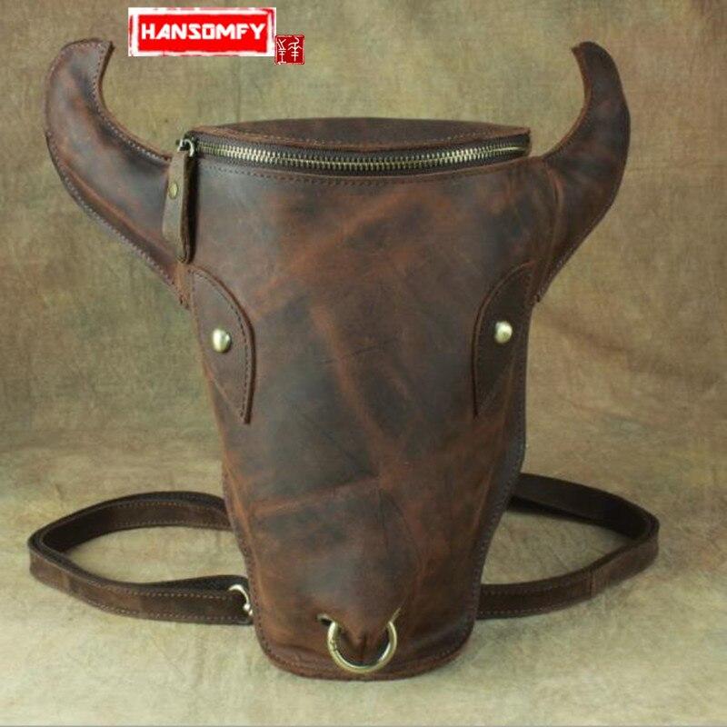 Bull Head Totem Men Backpacks Original Vintage Handmade Genuine Leather Men and Women shoulder Bag Crazy