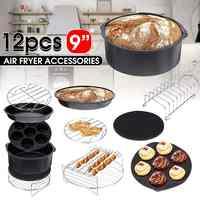 12 pièces Friteuse à Air Accessoires 9 Pouces pour Airfryer 5.2-6.8QT Panier de Cuisson Pizza Plaque Gril Pot Cuisine Outil De Cuisson pour la Fête
