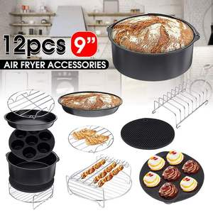12pcs Air Fryer Accessories 9 Inch Fit for Airfryer 5.2-6.8QT Baking Basket Pizza Plate Grill Pot Kitchen Cooking Tool for Party