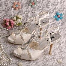 (20 Цветов) Marfil Свадебная Обувь для Женщин На Каблуках Сандалии Платформы Свадебная Обувь Кристалл