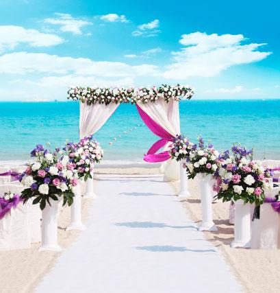 Huayi Blue Sky Photography Backdrop Art Fabric Photo Background Sea Wedding Flowers Photoshoot Prop D