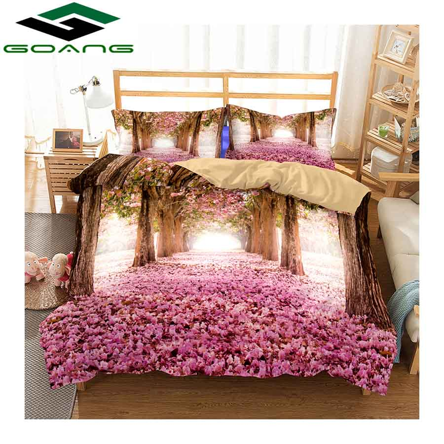 GOANG Home Textiles 3d Bedding Sets Duvet Covers And Pillowcases 3pcs Luxury Bedding 3d Digital Printing Pink Wisteria Tree