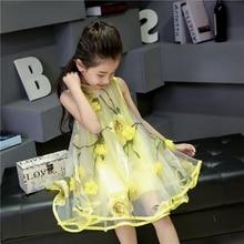 Manches d'été fleur plage fille robe Organza robes de princesse Kids Party robes pour filles enfants vêtements TZ67
