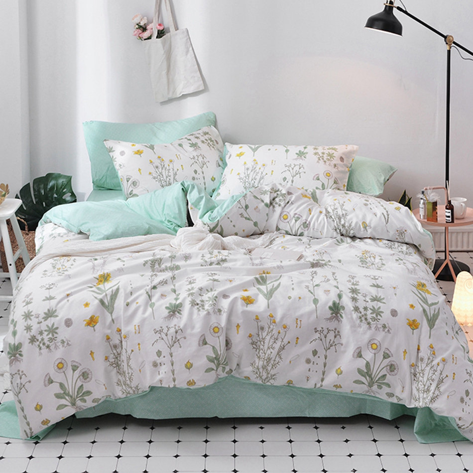 Flowers Duvet Cover Set 100% Cotton Bedding Sets Twin Queen Size Bed Linens Green Bed Sheet Pillow case Spring Bed Linens