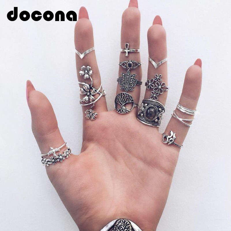 Docona Midi Rings Knuckle Finger-Jewelry Cross-Flower Carving Silver Boho Vintage Fashion