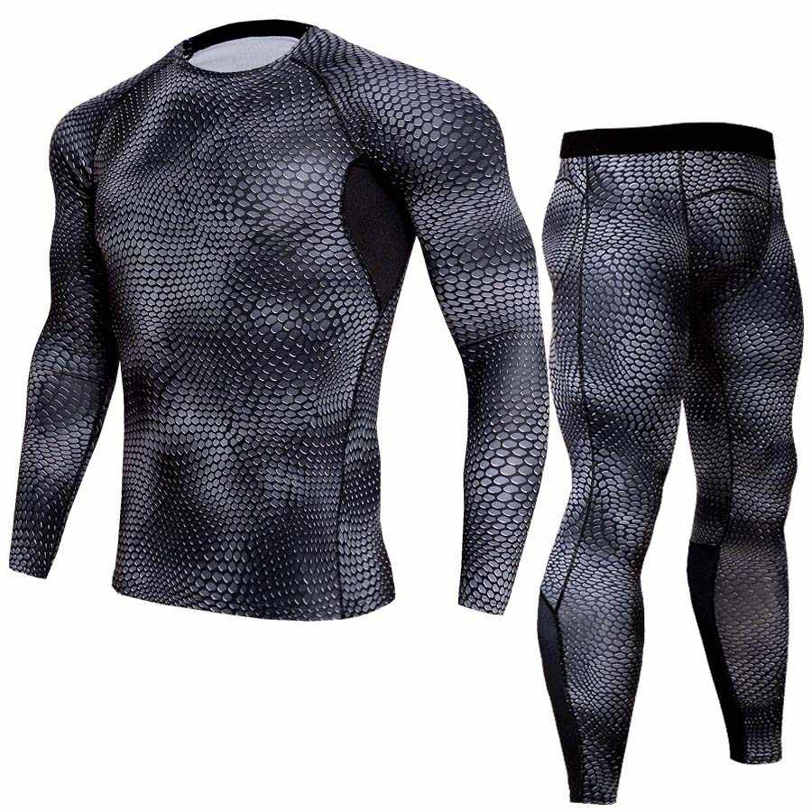Conjuntos de ropa interior térmica de compresión para hombre, conjuntos para correr, jogging, ropa deportiva, Conjunto de camiseta y pantalones largos para gimnasio, ropa para Fitness