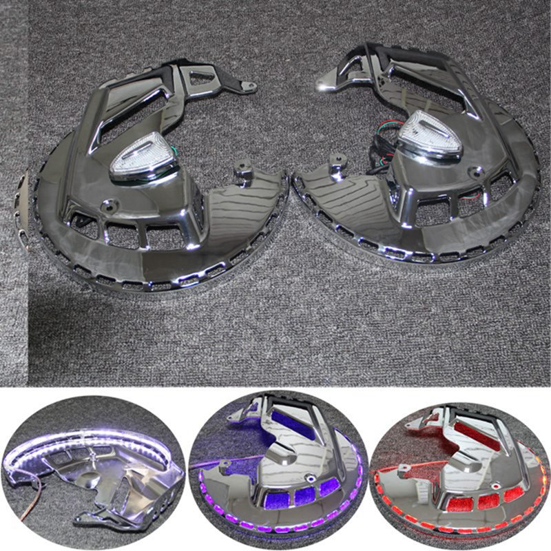 Motorcycle Brake Rotor Covers LED Ring Of Fire Indicator Lights For Honda GOLDWING GL1800 2001 2014