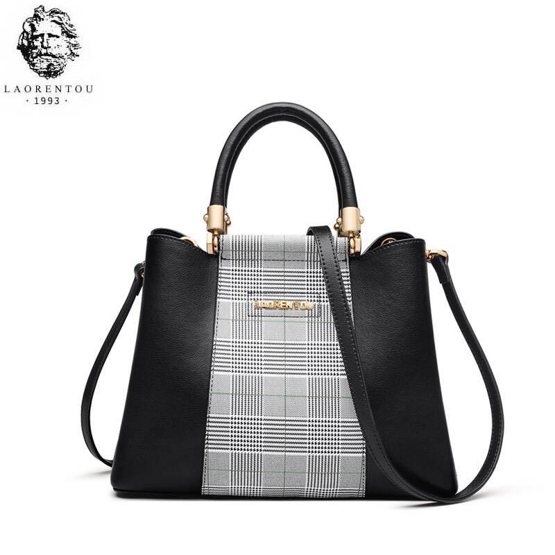 LAORENTOU high quality fashion luxury brand 2019 new simple ladies contrast color plaid leather large capacity mobile handbag