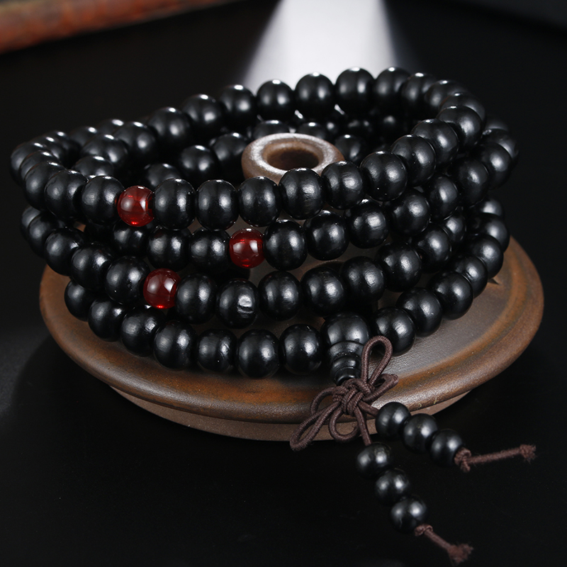 1Pcs 8mm Natural Sandalwood Buddhist Buddha Meditation Wood Prayer Bead Mala Bracelet Bangles Women Men Jewelry 108 Beads Bijoux 4