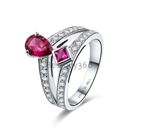 1 карат Сона Диамант кольцо с позолотой грушевидную форму стерлингового серебра 925 кольцо американский размер от 4 до 10,5 (YD)