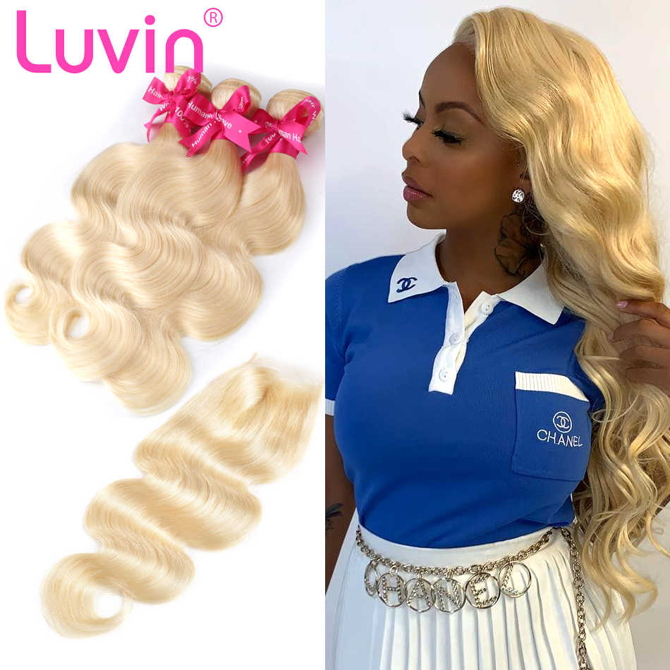 Luvin Body Wave 28 30 32 40 Inch Brazilian Remy Human Hair Bundles With And 4x4 Lace Closure 613 Blonde Weave