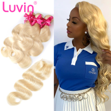 Luvin Body Wave 28 30 32 40 Inch Brazilian Remy Human Hair Bundles With And 4×4 Lace Closure 613 Blonde Weave