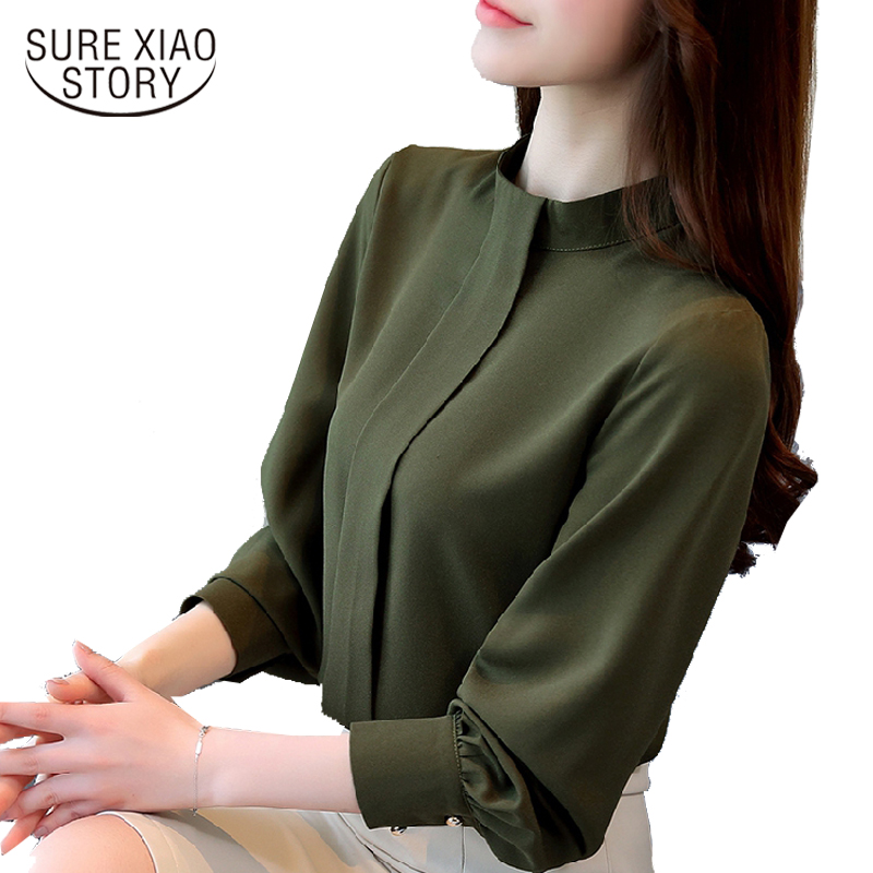 new arrival 2018 spring shirt women's loose bottoming shirt office lady stand collar shirt female blouse fashion tops D208 30