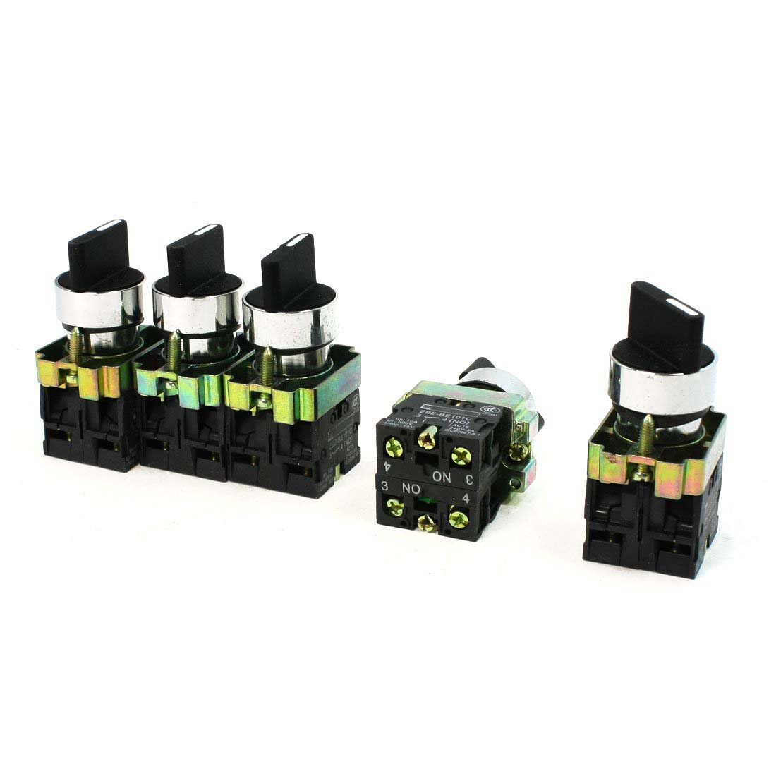 10A Ith 600V Ui Lug Control 4 Terminal 3 Position DPST 2NO Rotary Switch 5Pcs ui 660v ith 25a 12 terminals 3 positions latching rotary changeover cam switch