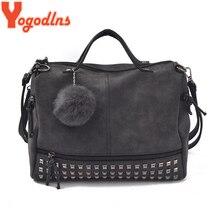 Yogodlns Vintage Nubuck Leather Ladies Handbag Rivet Large Bags Hair Ball Women Shoulder Bag Motorcycle Messenger Top Handle Bag