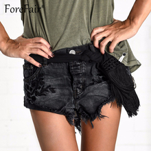af050e833b Forefair 2018 Fashion Tassel Cuffs Embroide Denim Shorts Summer Vintage  Black High Waist Shorts Women Sexy