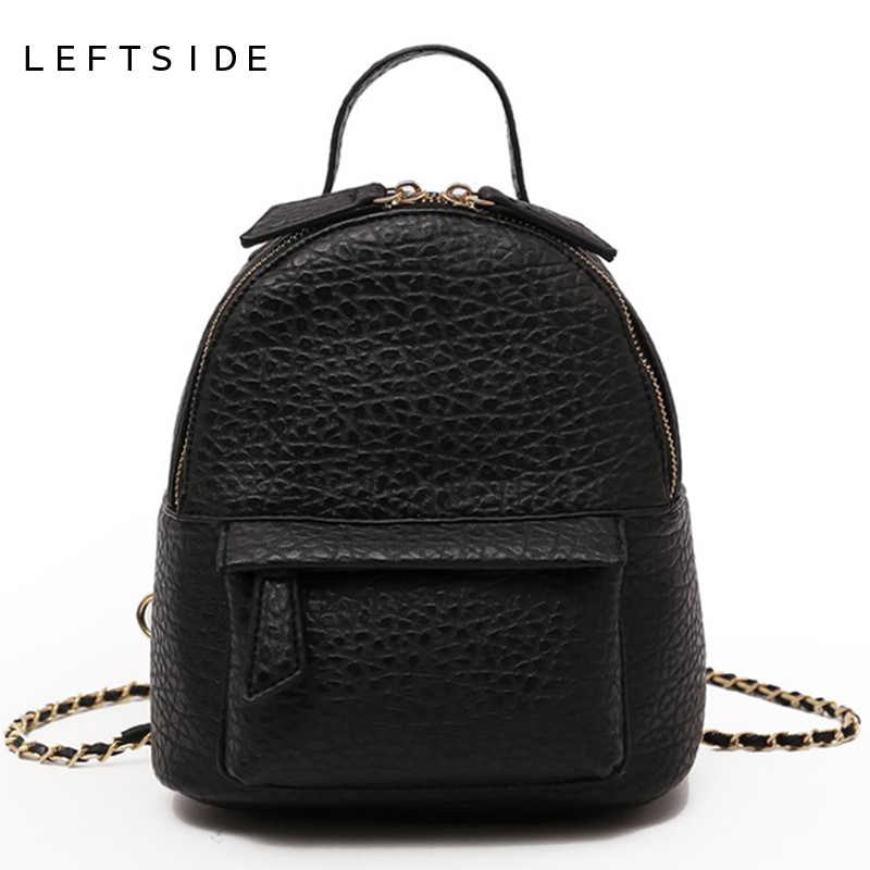 07ae56eb9d LEFTSIDE Female Small Backpack Women Crossbody Bags Ladies PU Leather Back  Pack Simple Style Backpacks For