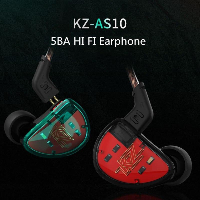 KZ AS10 Hifi écouteur 5BA stéréo casque dans l'oreille équilibré Armature pilote écouteurs moniteur DJ casque + Aptx KZ Bluetooth câble