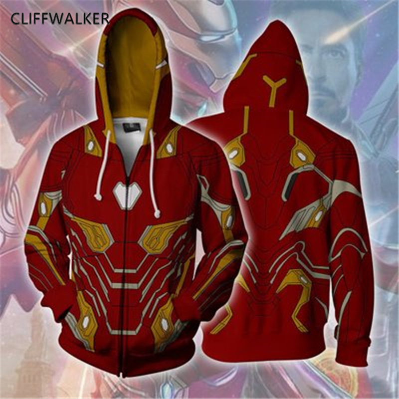 Dropshipping Summer Avengers Iron Man 3D Print For Men Zipper Hooded Sport Hip hop Hoodies Pullover Pocket Lace Loose Tops