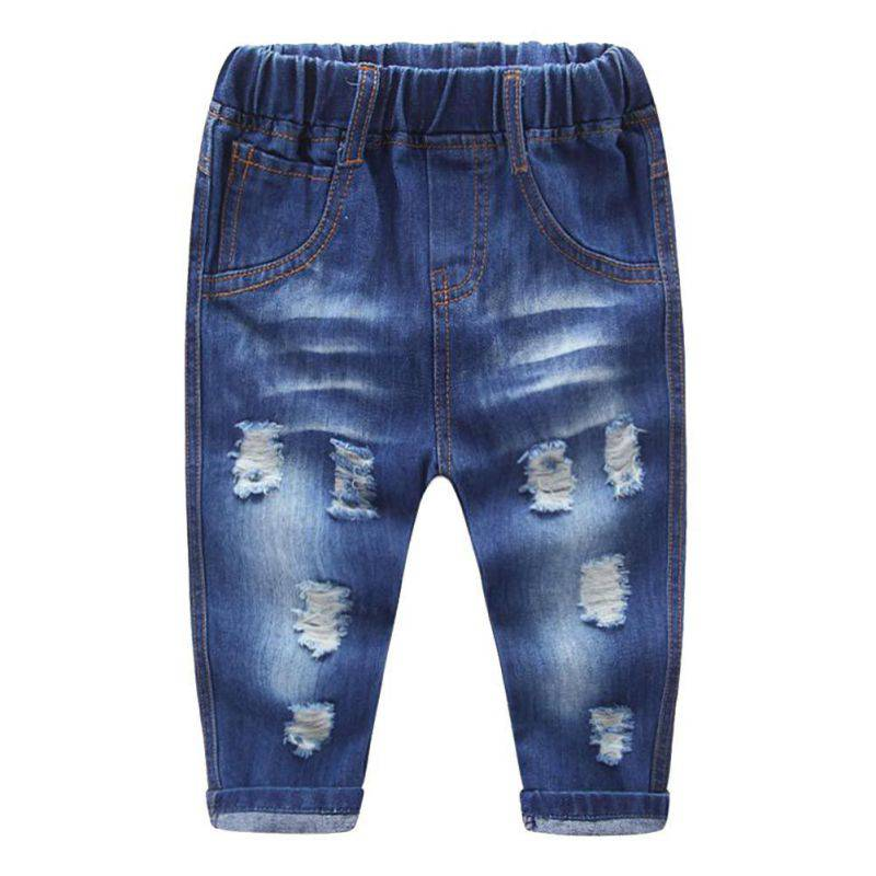 Summer New arrival Baby Boys Girls Pants Toddler Jeans Clothes Kids Broken Cool Washing Denim Pants oyfy