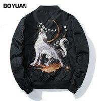 BOYUAN Brand Mens Clothing Pilot Jacket Coat Men Hip Hop Casual Jackets Men Wolf Embroidery Black