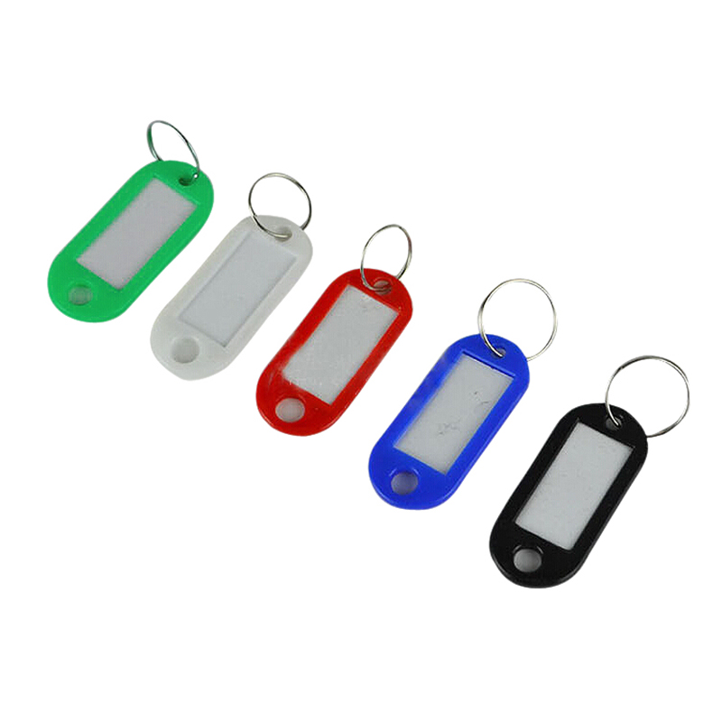 50 Pcs Different Color Plastic Key ID Label Name Card Tags Key Chains Key Rings Chaveiro