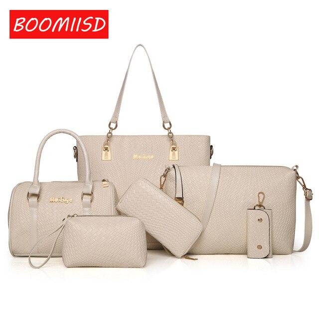 81bc8c191150c Women Leather Handbag Messenger Composite Bags 6 Sets Ladies Designer  Handbags Famous Brands Fashion Bag For Female Bag -4546