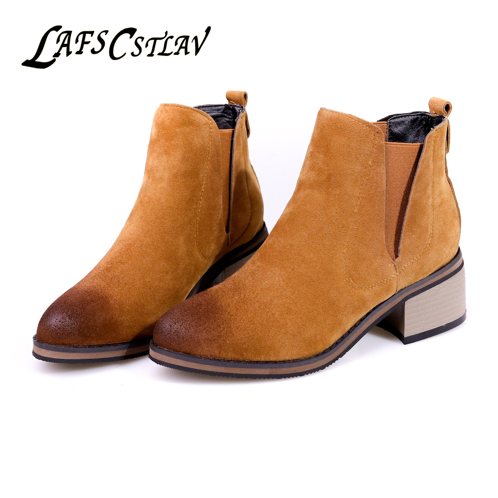 LAFS CSTLAV Suede Winter Autumn Ankle Boots for Women Comfortable Fashion Chelsea Boot Flat Low Heel Short Booties Brown Black xiuningyan flat black ankle boots for women kid suede short boots women female fashion low heel hademade ladies booties 2018 new