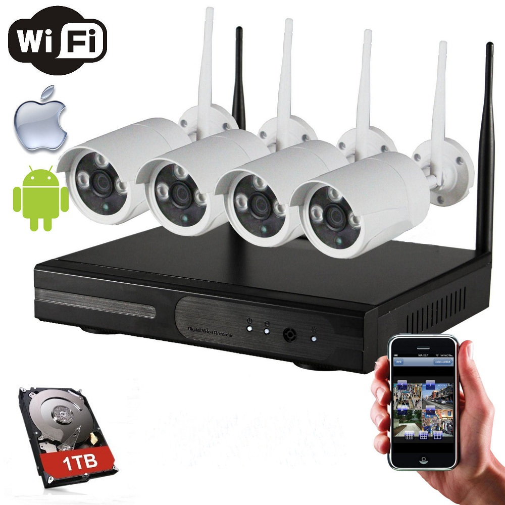 2018 Wholesale Price Home Security Alarm CCTV Camera System Wireless 4CH P2P HDMI 1080P IP Camera WiFi NVR Kit with 1TB HDD