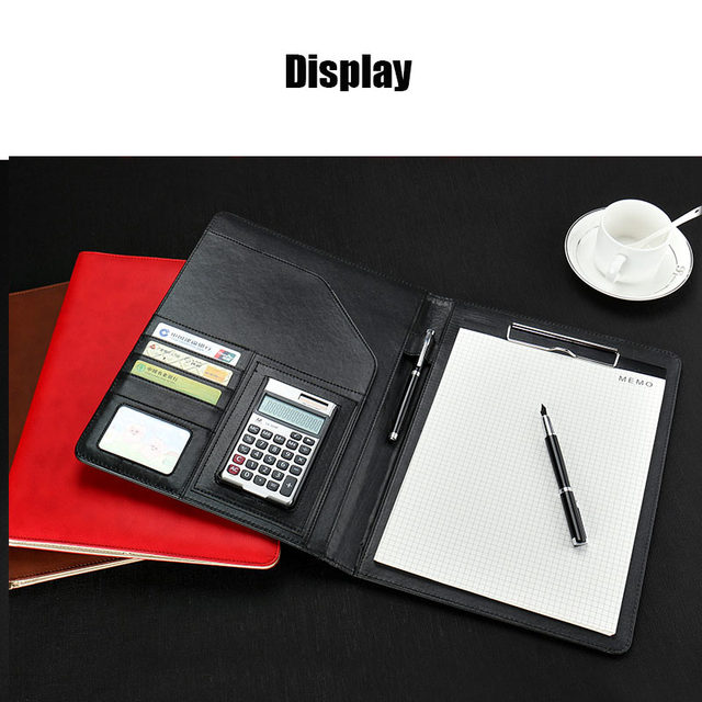 A4 Pu Leather File Folder With Calculator Multifunction Office Supplies Organizer Manager Writing Pads Legal Paper Contract