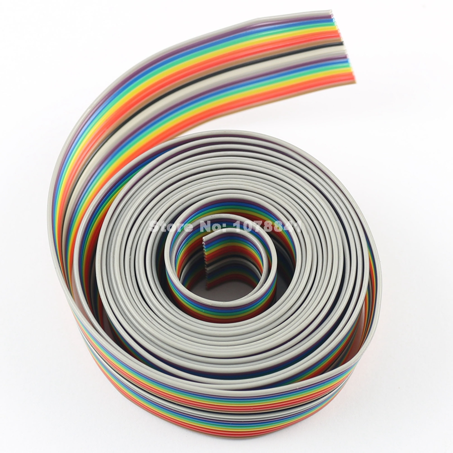1M meter 10 pin way 1.27mm pitch gray flat ribbon cable for 2.54mm FC connectors