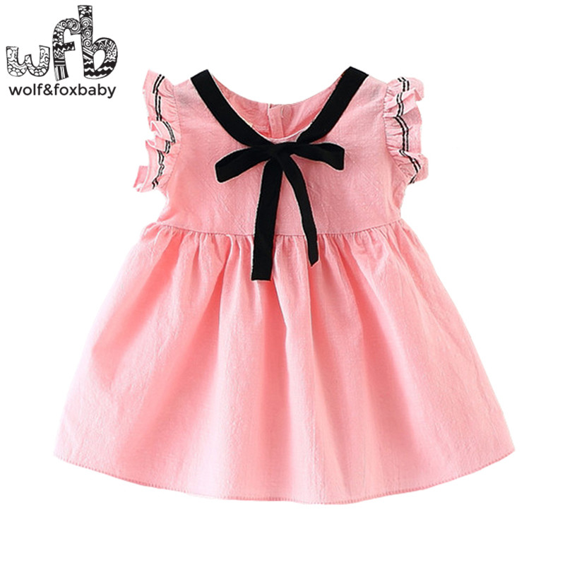 Retail 1-3 year sleeveless girl dress children summer stripe Ribbon