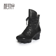 2017 spring fall winter women leather shoes platform comfortable black lacing up boots Martin pointed toe