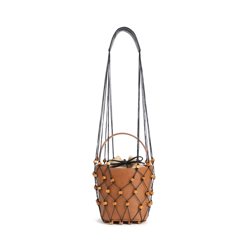 Summer 2018 New Design Frosted Wood Shoulder Handbag Pearl Hanging Fish Net Bag