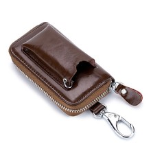 Leather Key Holder Keychain Wallet Men Women Car Keys Case Pack Pouch Organizer Housekeeper Mini Card Bag Multifunctional Bag