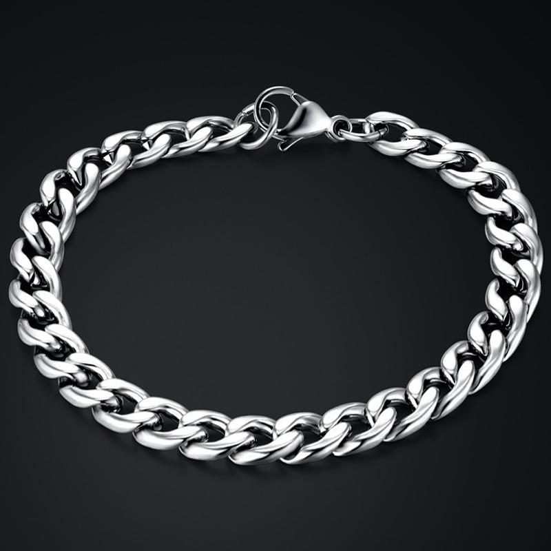 Mens Silver Chain Men Bracelet Cuban Link Chain Stainless Steel Chain & Link Bracelets for Man New Braslet Silver Color Jewelry