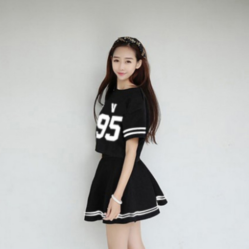 BTS KPOP Bangtan Boys Dress child Periphery piece Women 2018 New Sale Cotton white and Black Dress Sweet letters printing