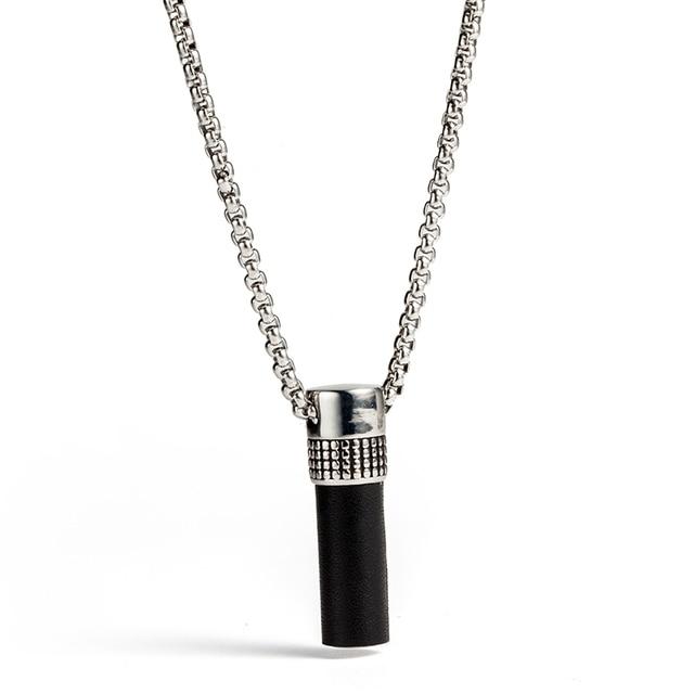Titanium steel pendant necklace charm capsule silver leather titanium steel pendant necklace charm capsule silver leather cylindrical pendants stainless steel necklace for womenmen n010628 aloadofball Images