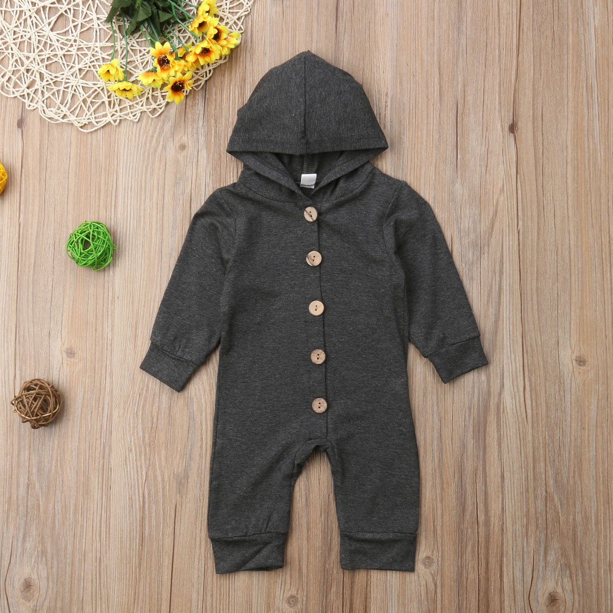 HTB1ScmDXOYrK1Rjy0Fdq6ACvVXap Toddler Baby Clothes Hooded Long Sleeve Button Boy&Girl Kids Baby Rompers Cotton Jumpsuit New Born Baby Clothes Casual Outfit
