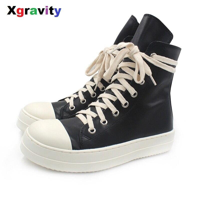 Xgravity Mid-Calf Lady Casual Preto Sneaker Plana Mulher Elegante Mulher  Outono Sapatos Dedo Do 4df2caec2f6
