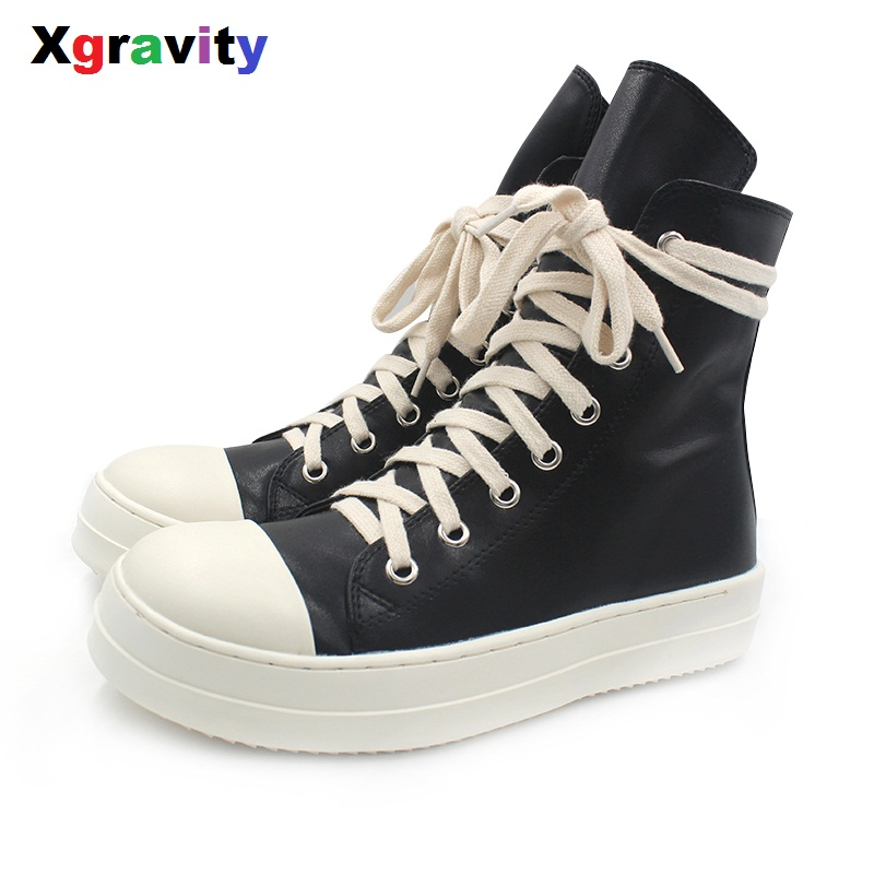 Xgravity Mid-Calf Lady Casual Black Flat Sneaker Elegant Woman Round Toe Fashion Boots European American Woman Autumn Shoes C251 double buckle cross straps mid calf boots