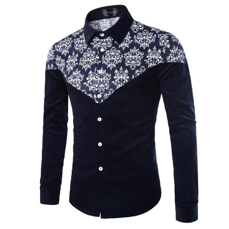 New Chinese style corduroy shirt men's high quality brand shirt fashion business casual slim printed long-sleeved dress shirt