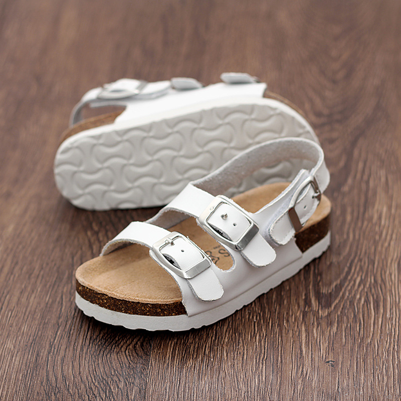 LARTUS Childrens Shoes Boys Leather Shoes Summer Sandals New Baby Girls Sandals Kids Cork Shoes Beach Sandals