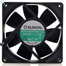 DHL Free Original KD2408PTB3 DC 24V 1.5W 8025 80*80*25mm 2200RPM 2 Wires Computer Blower Double Ball Cooling Fan KD2408PTB3-6A