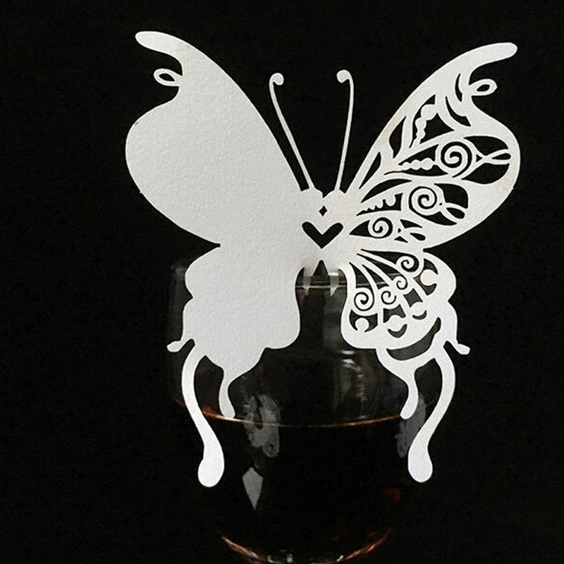 10Color 100pcs Laser Cut Butterfly Paper Place Card  Escort Card  Cup Card Wine Glass Card For Wedding Christmas Decor Favors (5)