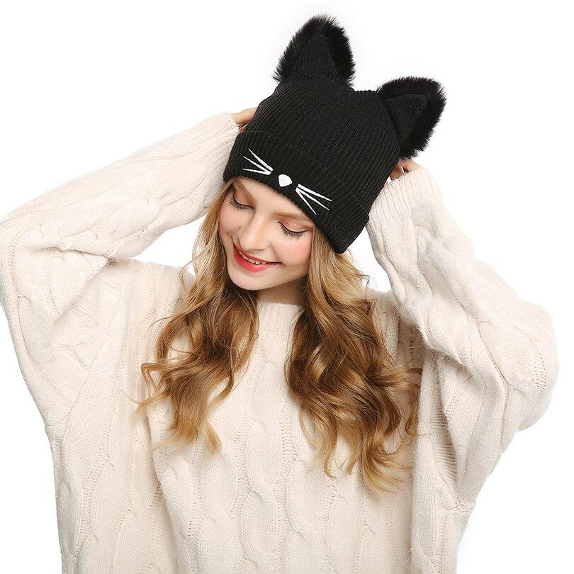 efaf6dab96c74 Winter Warm Hats for Women s Cat Ears Skullies Hat Black Hats Hot Drilling  2018 New Beanies Girls Rhinestone Outdoor Cap Head-in Skullies   Beanies  from ...