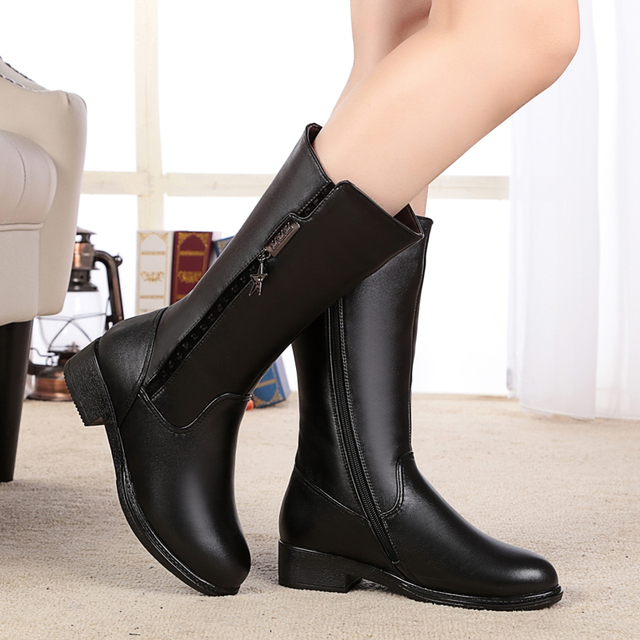 Women's boots, thick 2017 real leather boots thick with female wool warm winter boots Cowhide motorcycle boots, free shipping